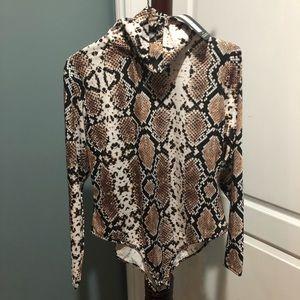Boohoo Snake Print Turtleneck Bodysuit